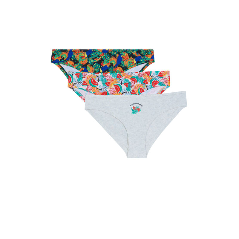 Pack of 3 pairs of knickers with tropical print - grey;