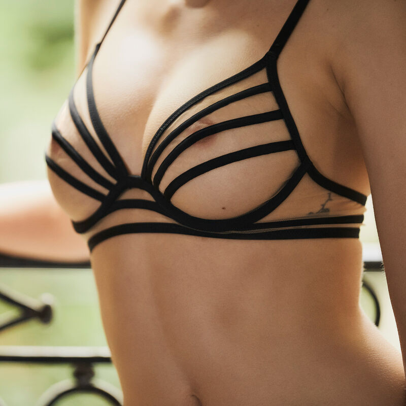 Tulle balconette bra with bands - black;
