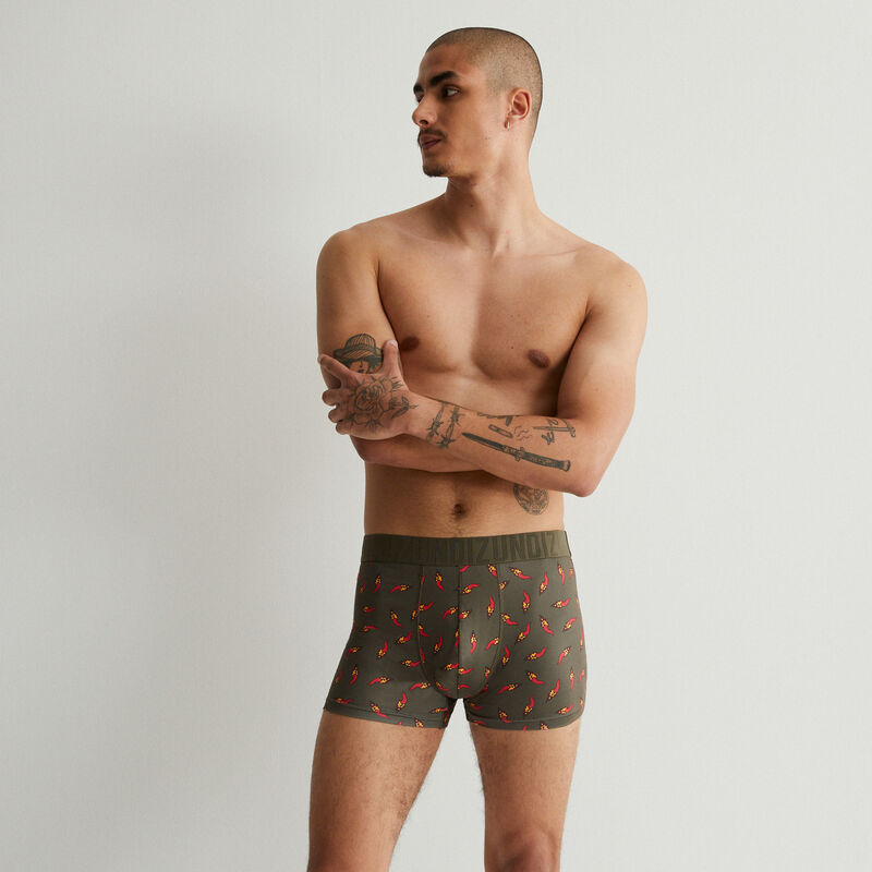 cotton boxers with chilli motifs - khaki;