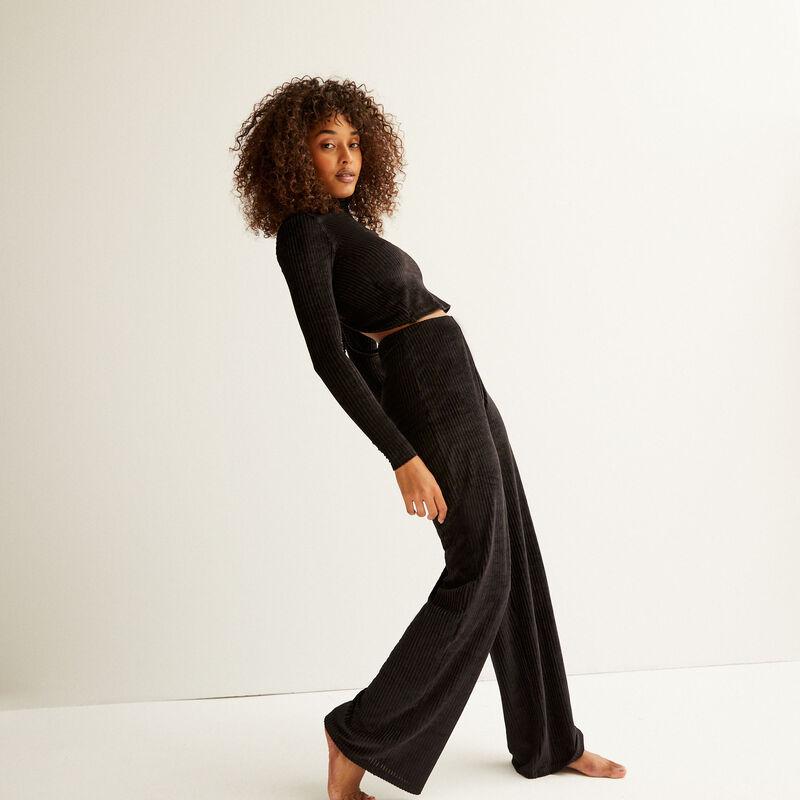 proste spodnie z wysokim stanem — kolor czarny;