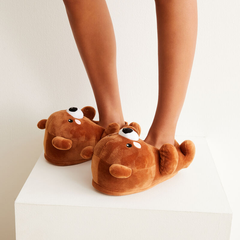 Fleece bear slippers - brown;