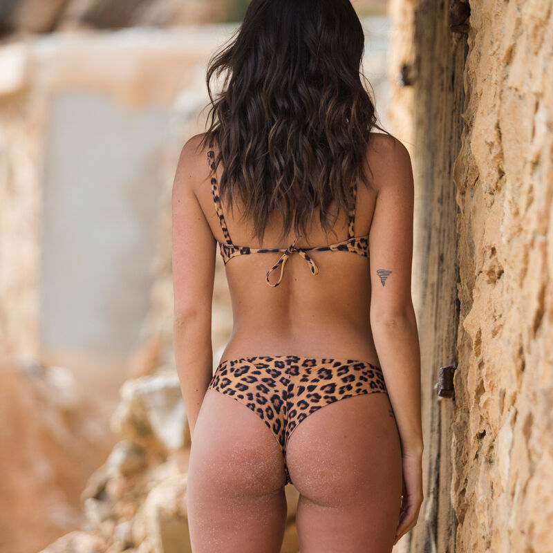 leopard print bandeau bikini top - brown ;