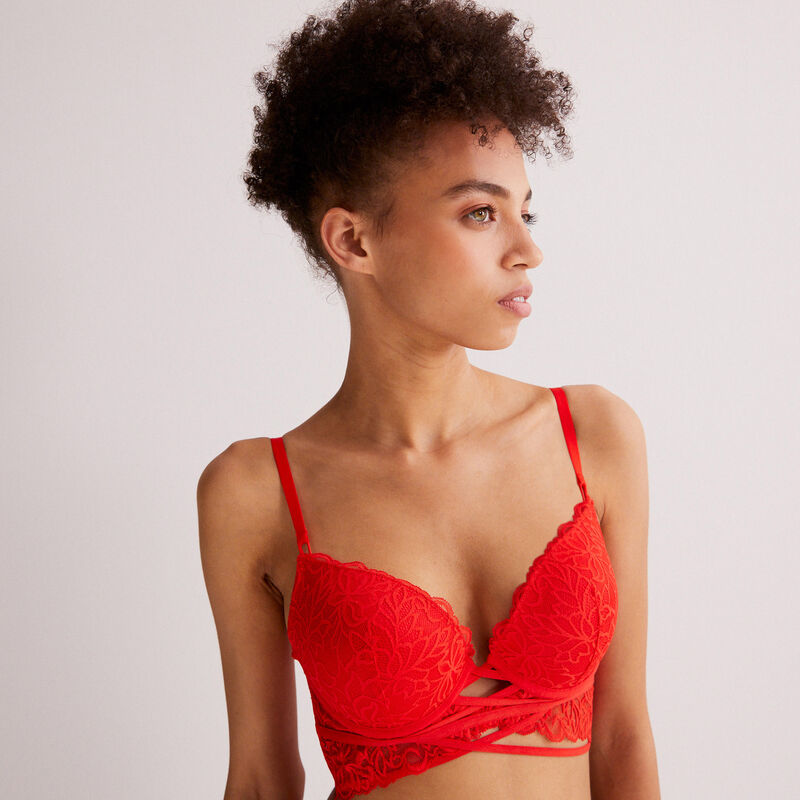 lace push-up bra - red ;