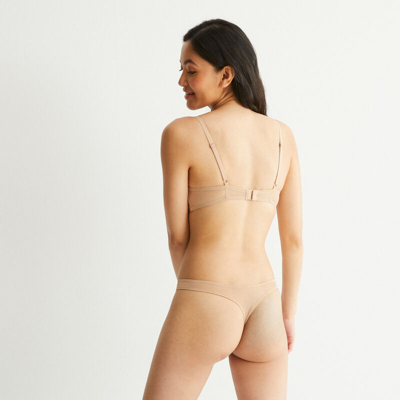 Lace thong with bow detail - beige;