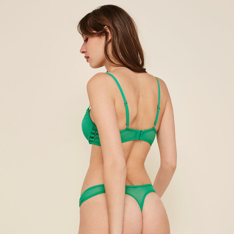 Triasiz emerald-green push-up bra;