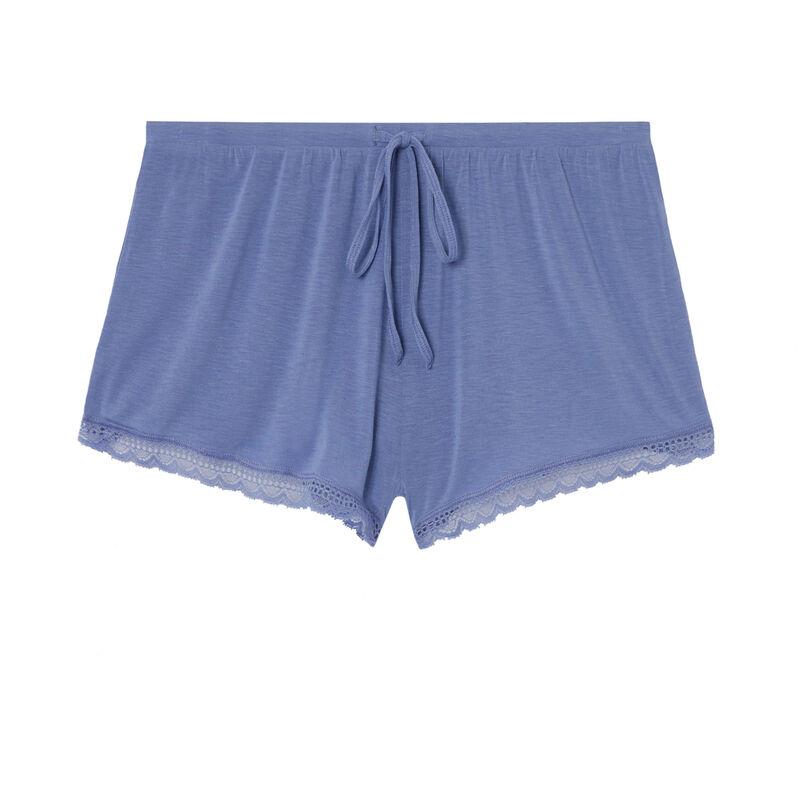 gładkie szorty z jerseyu – kolor niebieski ;