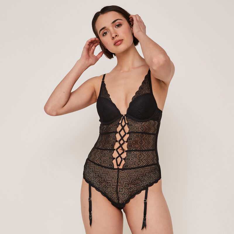 Soleuriz lace, push-up bodysuit;