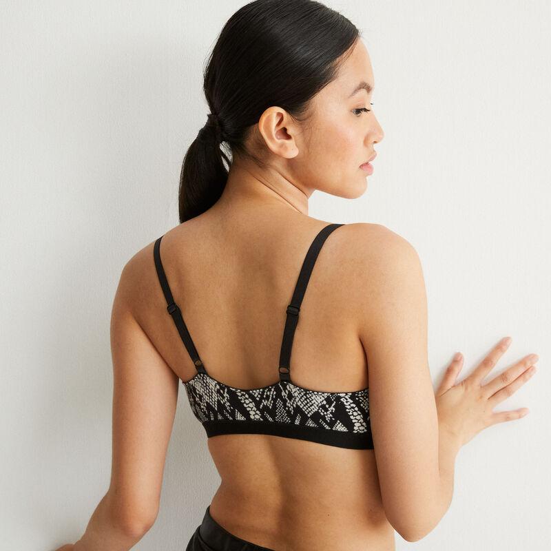 Non-wired bra with python print - black;