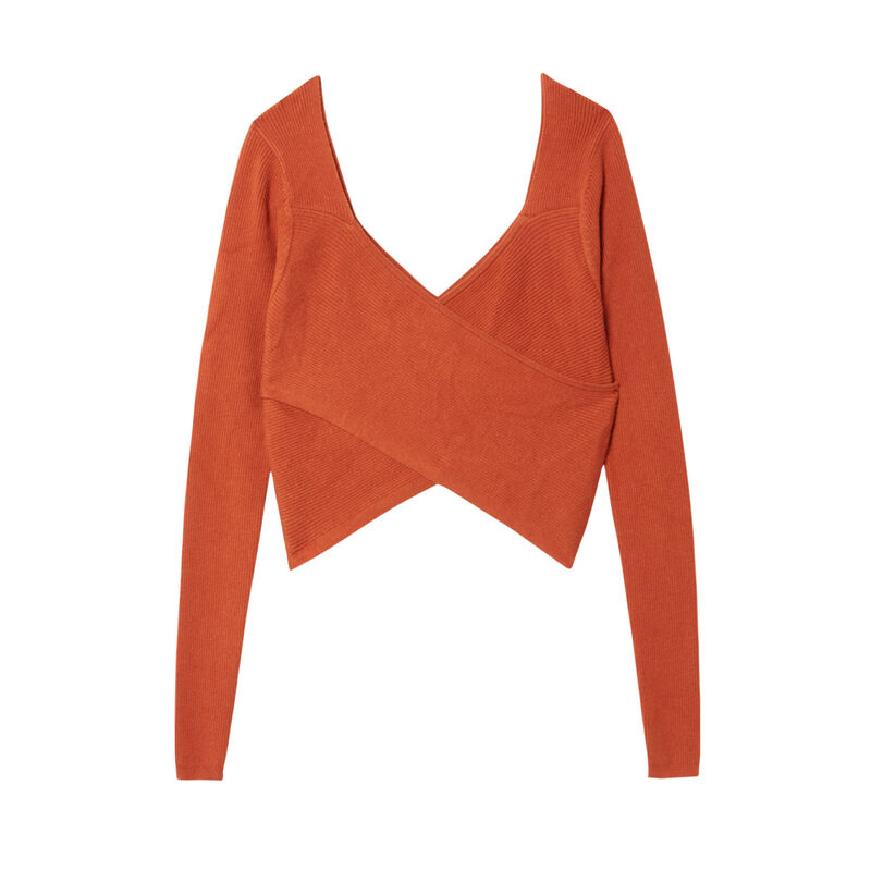 crossover top with knitted front and back - brown;
