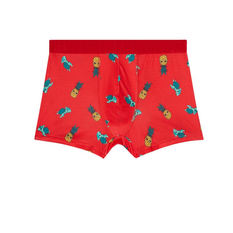"""трусы-боксеры с рисунком """"ананасы и черепаха"""" - красный;"""