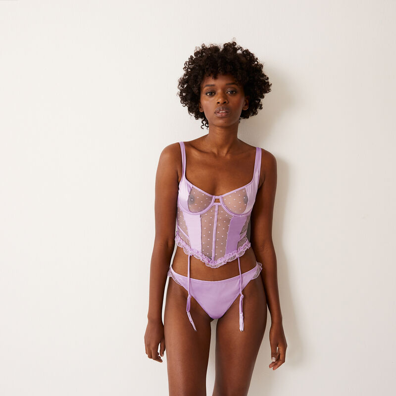 satin and lace basque - lilac ;
