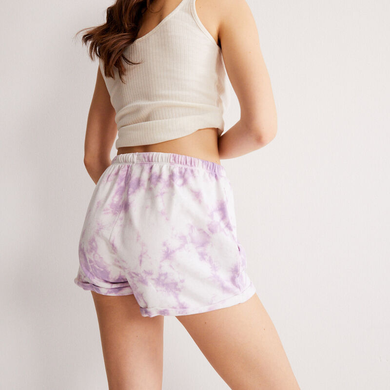 tie-dye-effect shorts with drawstring detail - lilac;