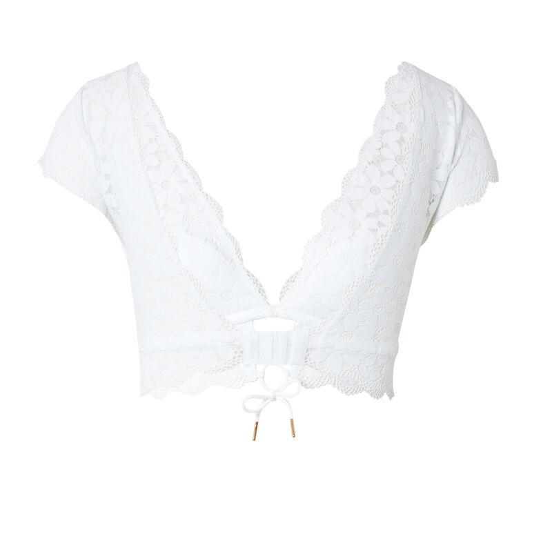 biustonosz koronkowy — kolor biały;