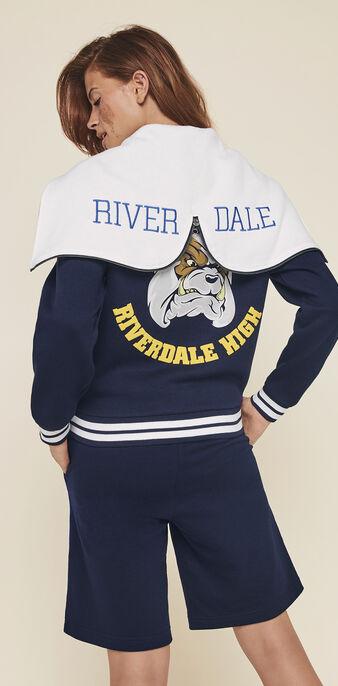 Riverdaliz licensed riverdale hooded bomber jacket navy blue.