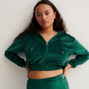 Velvet cropped jacket with an elasticated waist - fir