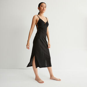 long cut-out bust dress with rings - black
