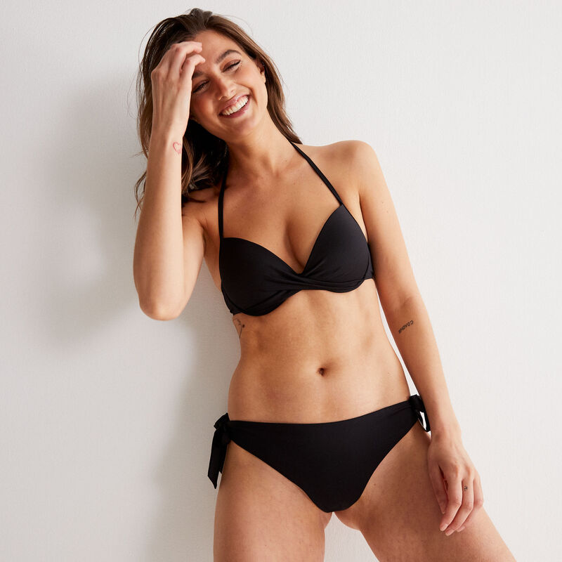 open back push-up bikini top with twisted neckline - black;