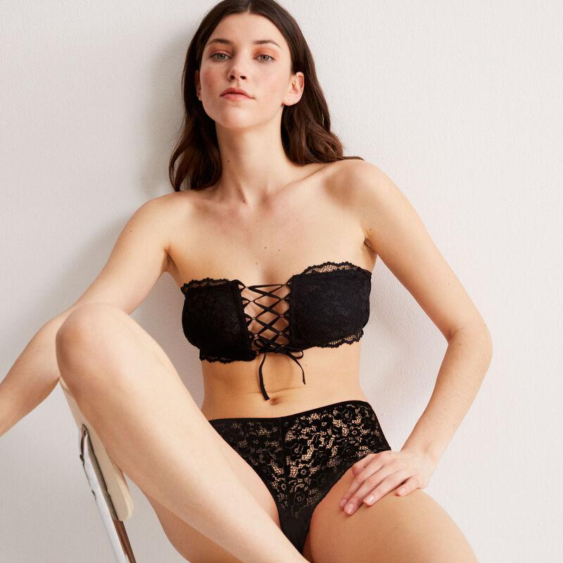 non-wired corset-effect bandeau bra - black;