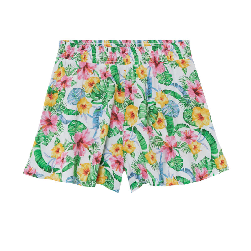 Flowing shorts with a gathered waist and floral print - off-white;