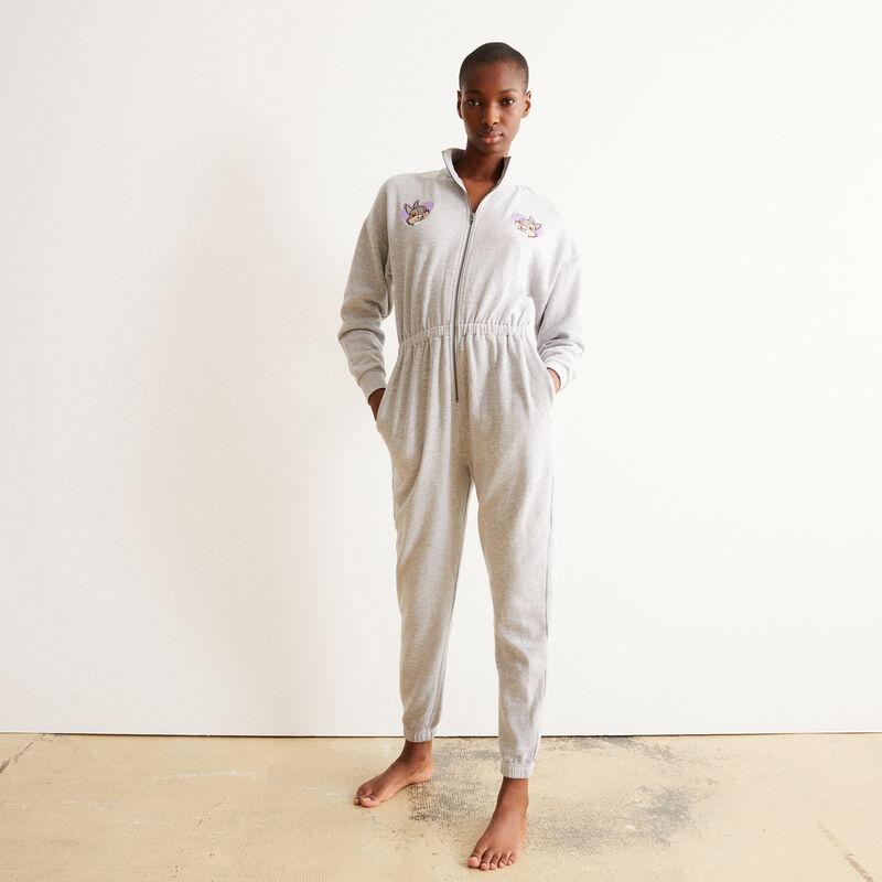 fleece onesie with Bunny print - grey;