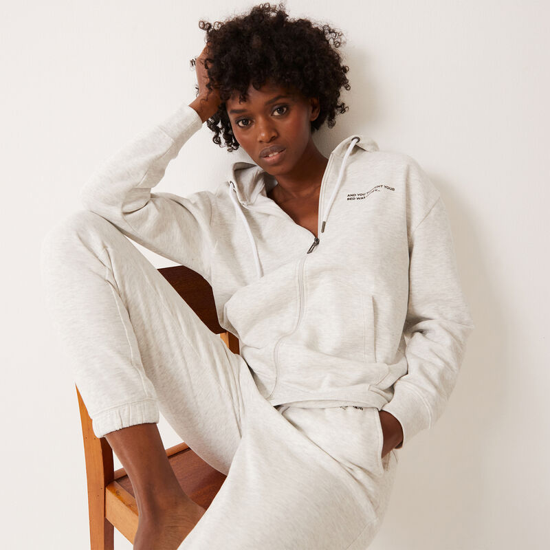 zipped slogan hooded jacket - off-white;