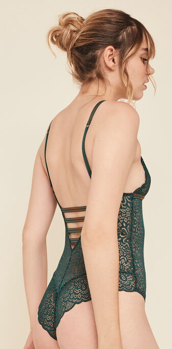 Lurexbandiz lace wireless bodysuit green.
