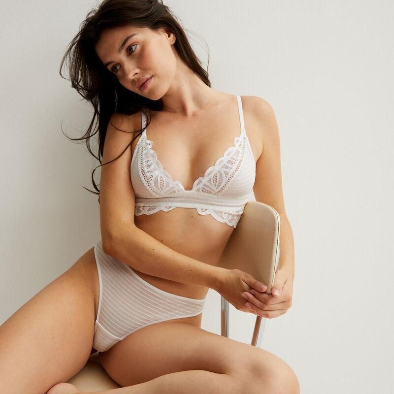 double lace triangle bra - white;