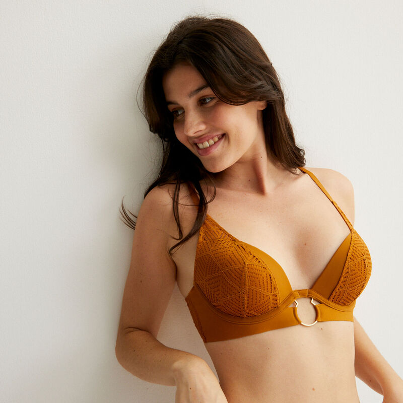 push-up bra with a ring detail - camel;