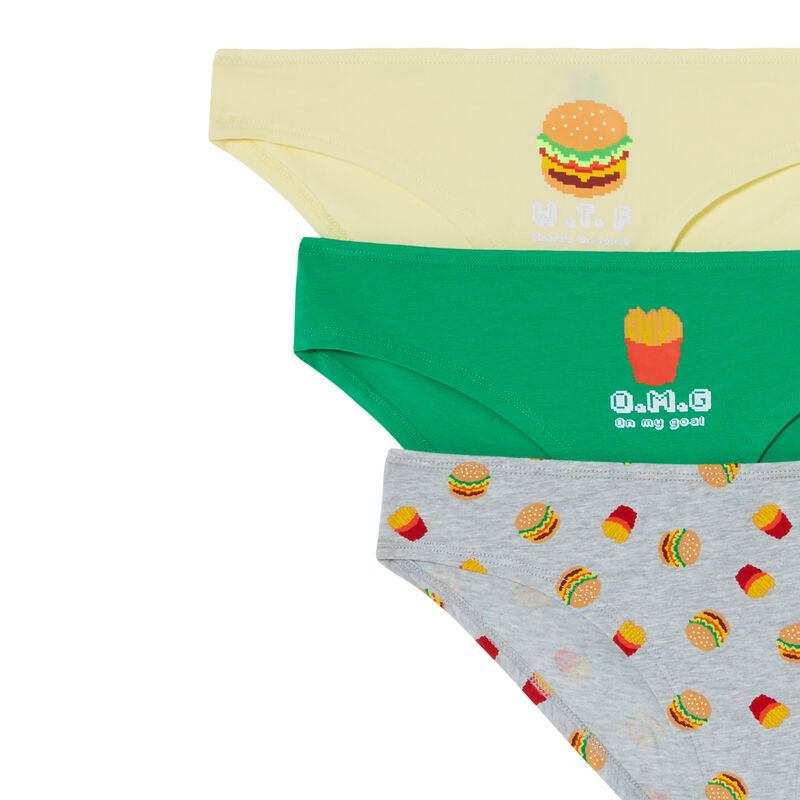 set of 3 burger briefs - grey;