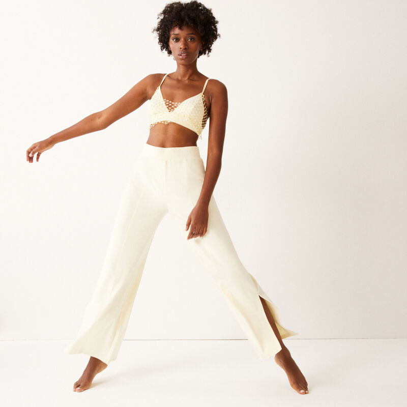 Crop-top effect triangle bra with beads - off-white;