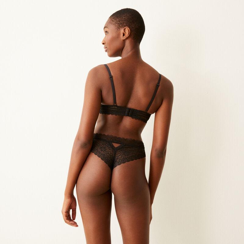 Lace tanga briefs - black;