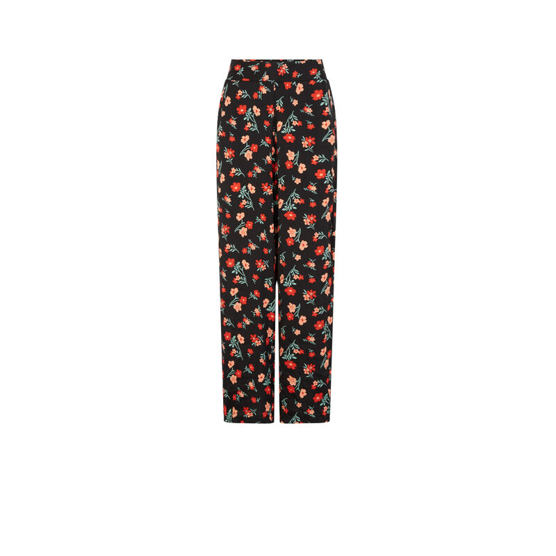 Satiny floral print trousers - black;