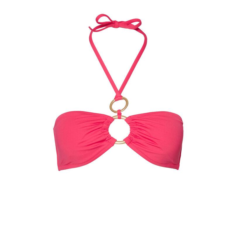купальный бюстгальтер-бандо с отделкой колечками - розовый;