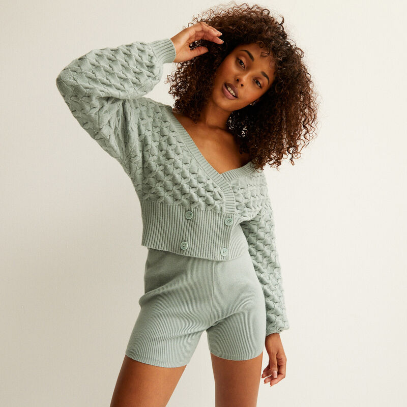 knitted cropped wrapover cardigan - aqua;