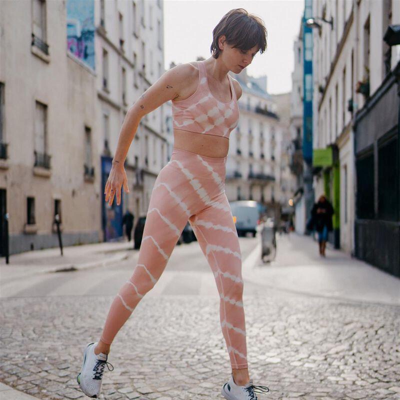 tie-dye sports leggings - pink;