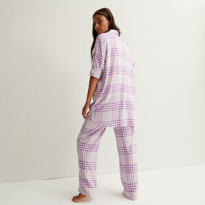 Wide check trousers with pleated waist and ties - purple