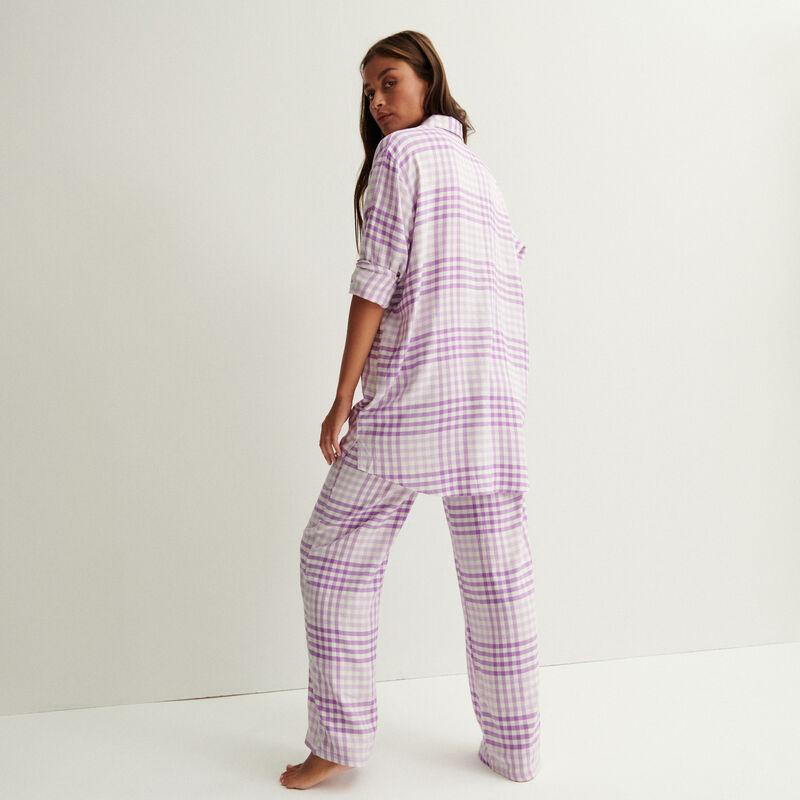 szerokie spodnie w kratę z marszczeniem i wiązaniem w talii — fioletowe;