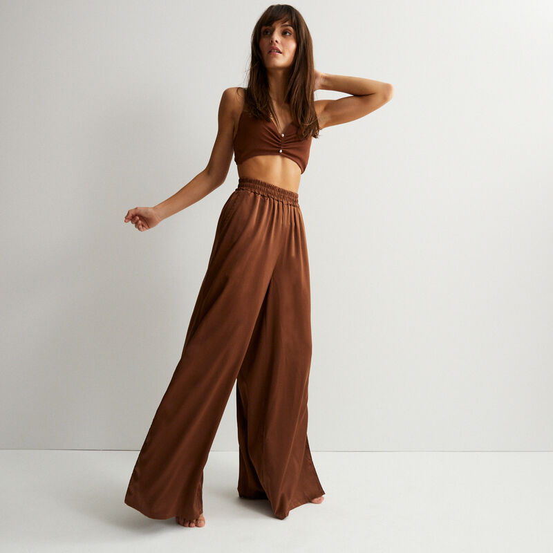 атласные брюки с высокой талией - коричневый;