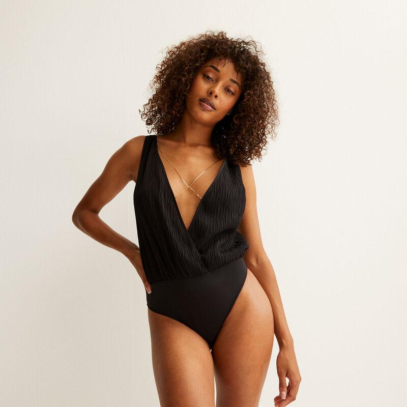 low-cut bodysuit with chain detail - black;