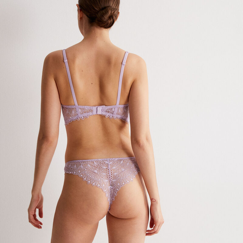 lace thong briefs with jewellery detail - lilac;