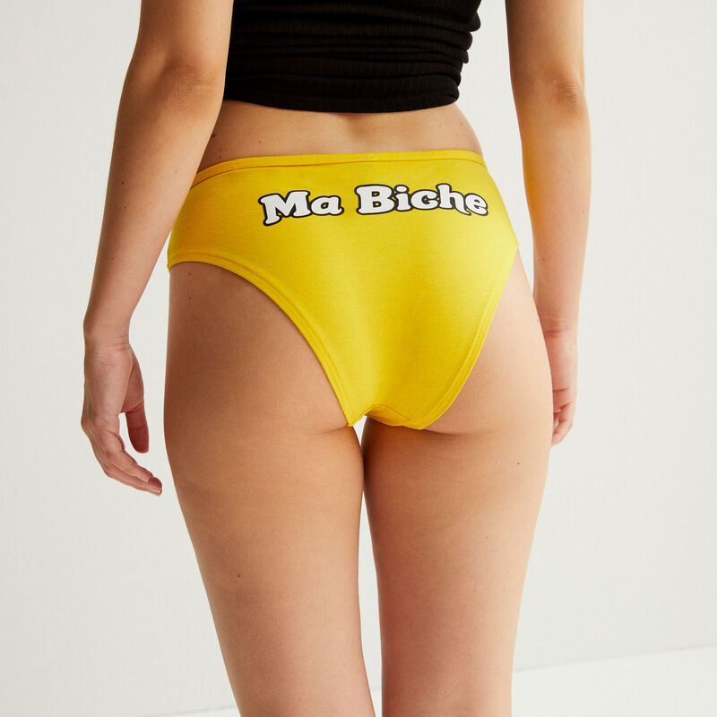 """short with """"my deer"""" message - yellow;"""