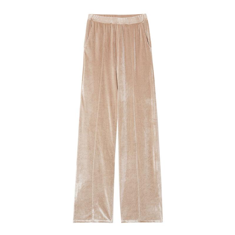 spodnie dresowe Aya x undiz z weluru — kolor beżowy;
