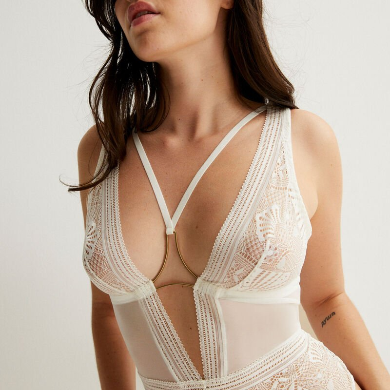 Non-wired bodysuit with ties and jewellery - ecru;