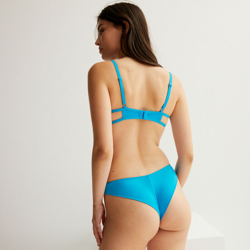 Tulle insert high-leg tanga briefs - blue;