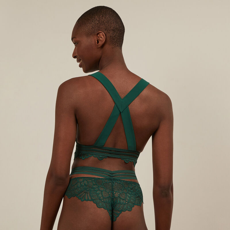 Lace insert tanga briefs - green;
