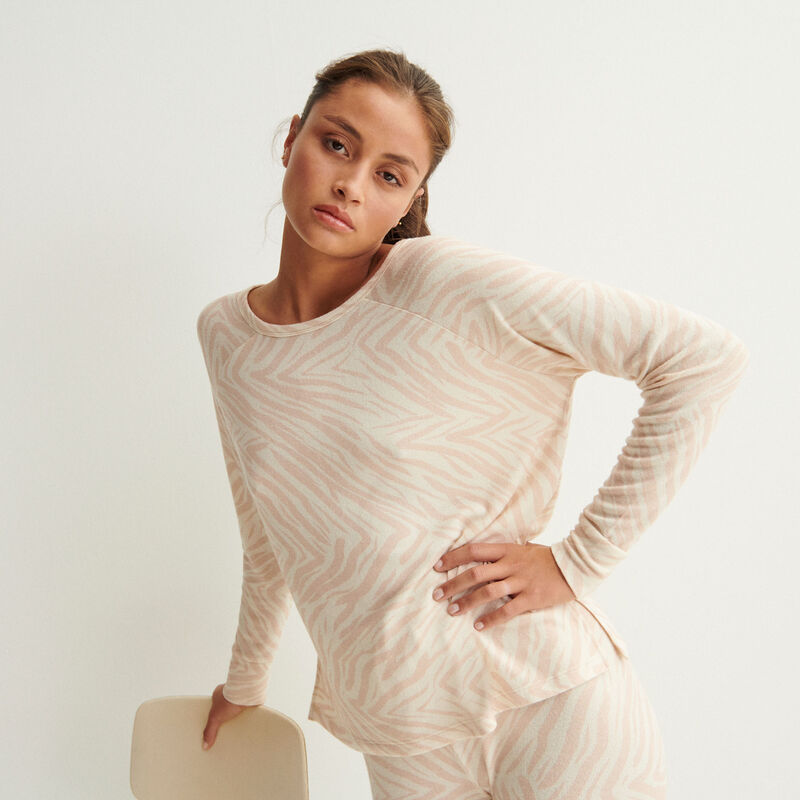 long-sleeve zebra print shirt - nude pink;