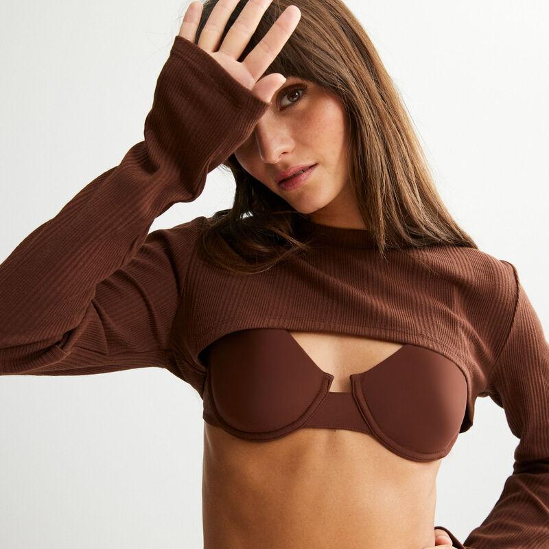 ribbed shrug - brown;
