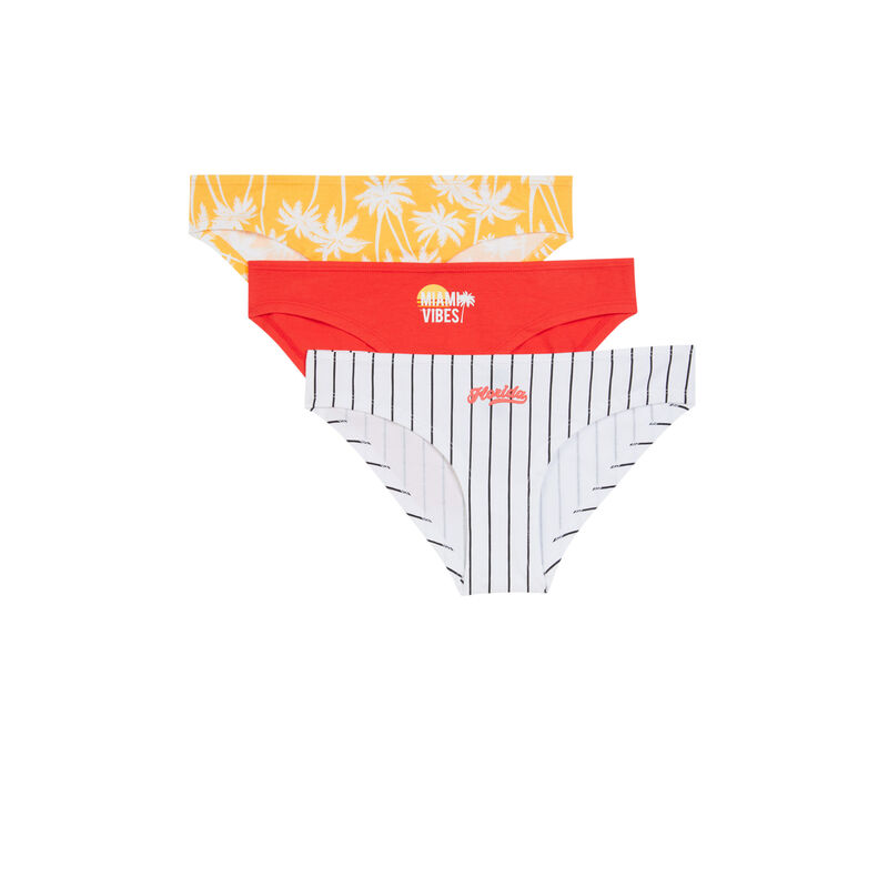 Pack of 3 pairs of summer vibes knickers - white;
