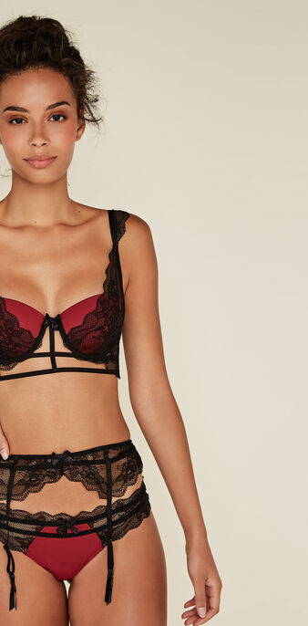 Likiz dark red push-up bustier bra biking red.