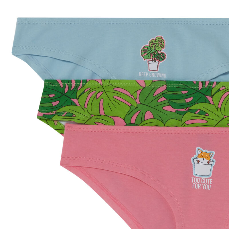pack of 3 too cute for you briefs - pink;